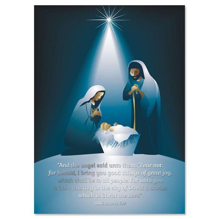 A Savior Has Been Born Deluxe Foil Religious Christmas ...