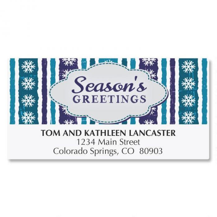 Blue Stripe Greetings Address Labels