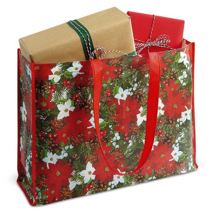 Pinecones & Poinsettias Tote Bag