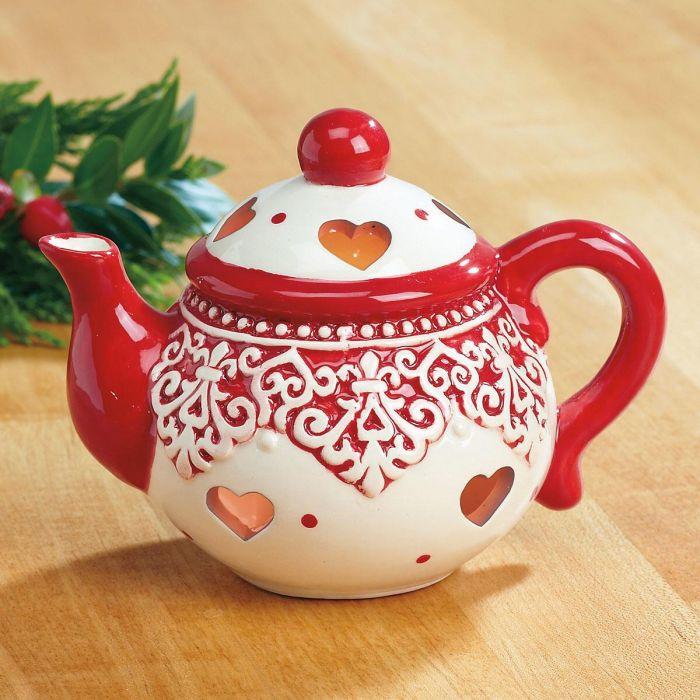 Red and White Ceramic Teapot Tealight Holder