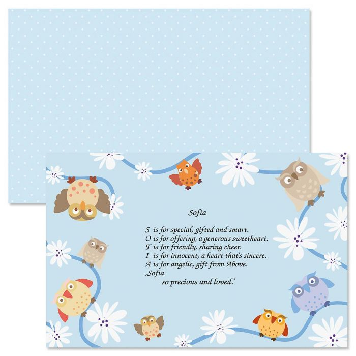 Owls Name Poem Kids' Placemats
