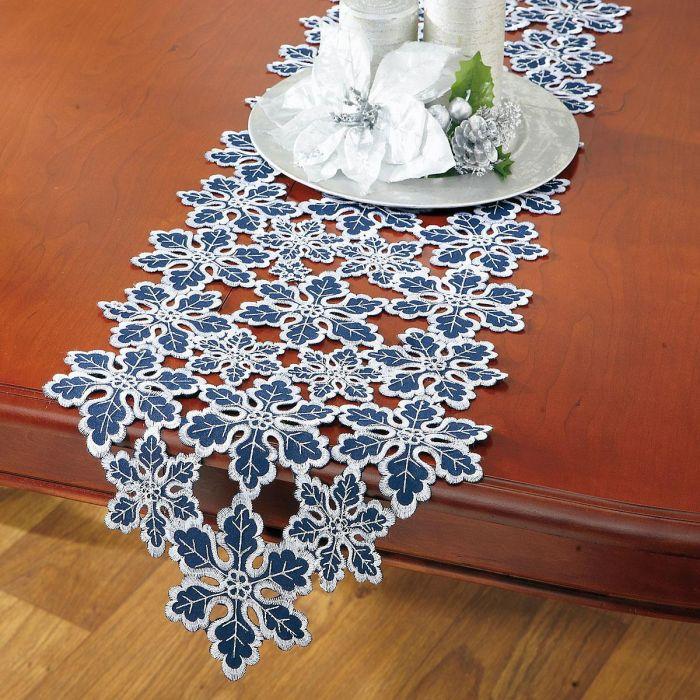 Blue & Silver Snowflake Table Runner