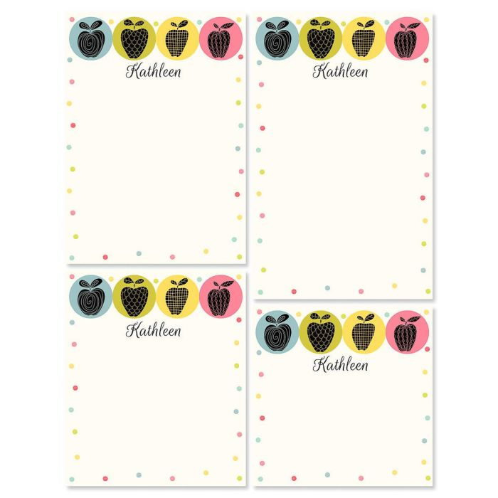 Geometric Apples Personalized Notepad Set