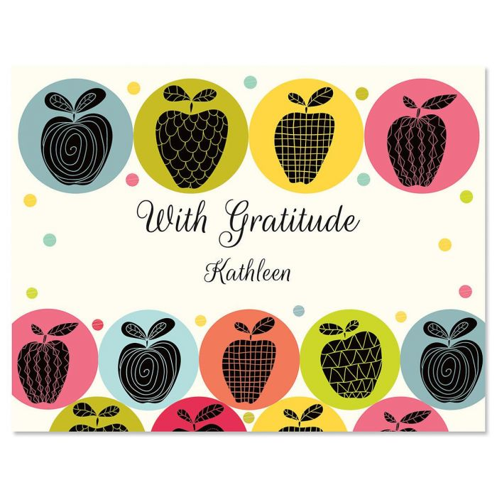 Geometric Apples Personalized Thank You Cards