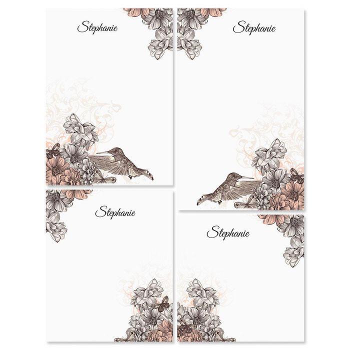 Hummingbird Garden Personalized Notepad Set