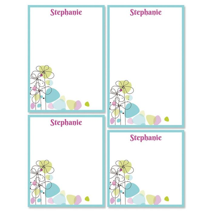 Sketched Flowers Personalized Notepad Set