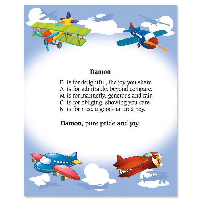 Airplane Name Poem Print