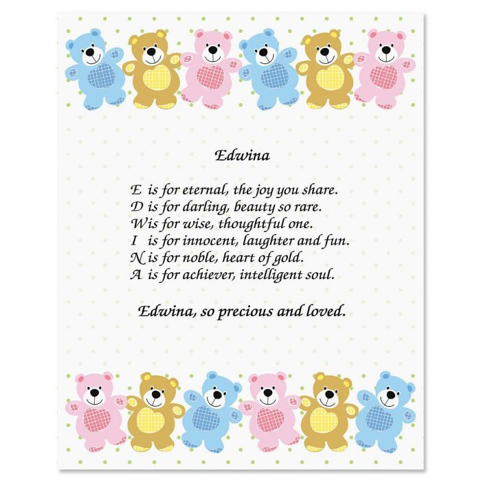 Bear Name Poem Print