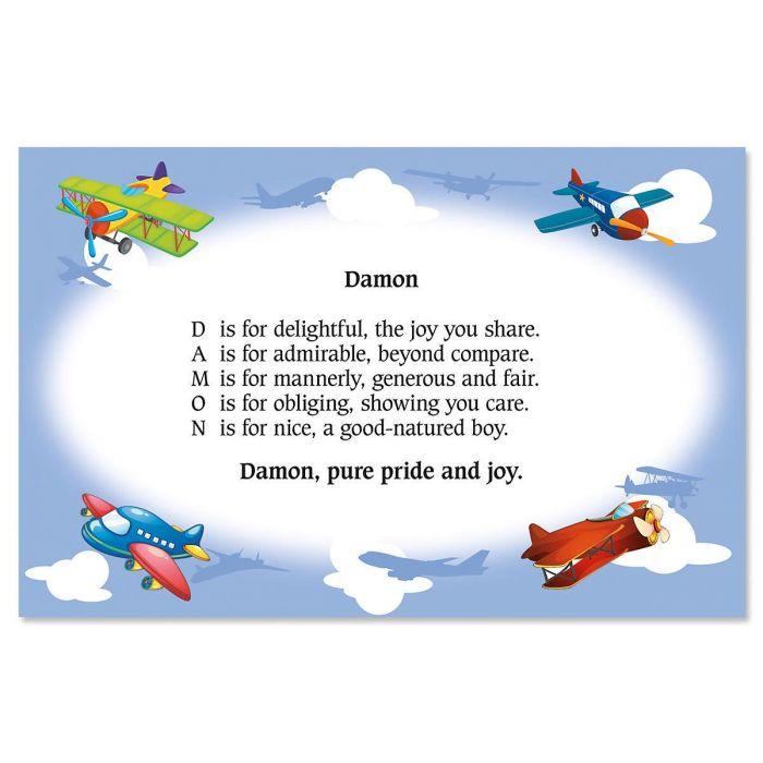 Airplane Name Poem Kids' Placemats