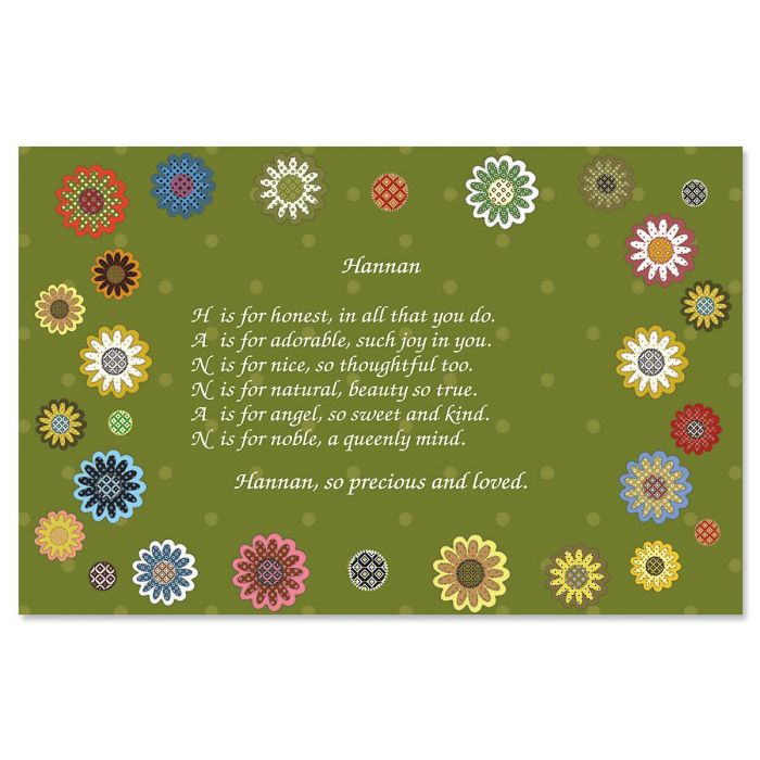 Daisy Flower Name Poem Kids' Placemats