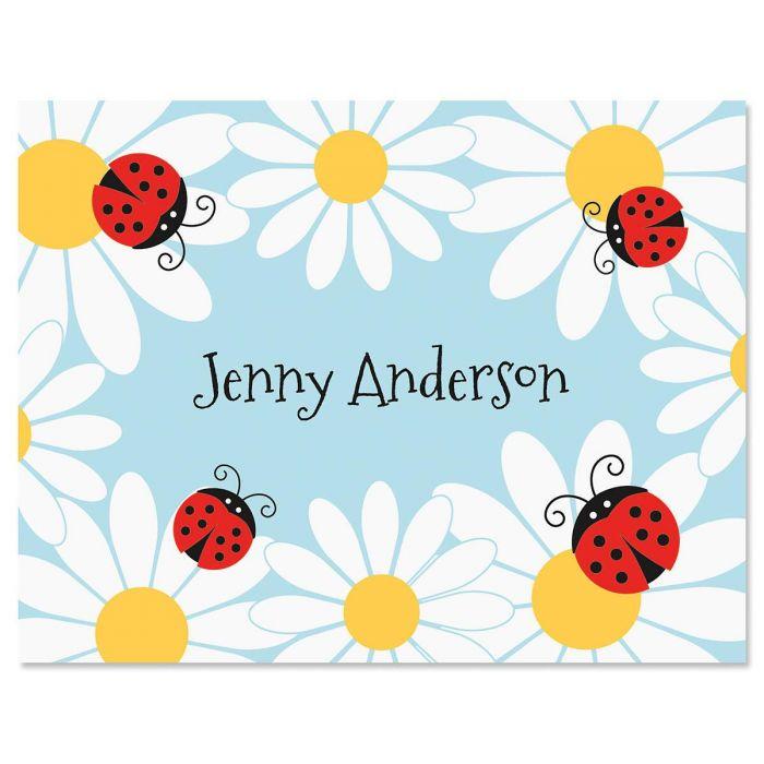 Ladybug Daisy Personalized Note Cards