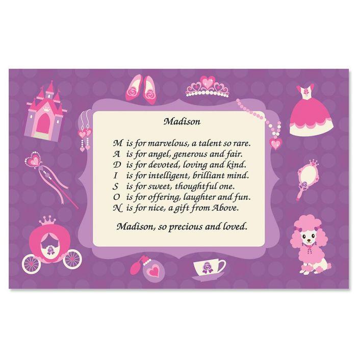 Princess Name Poem Kids' Placemats