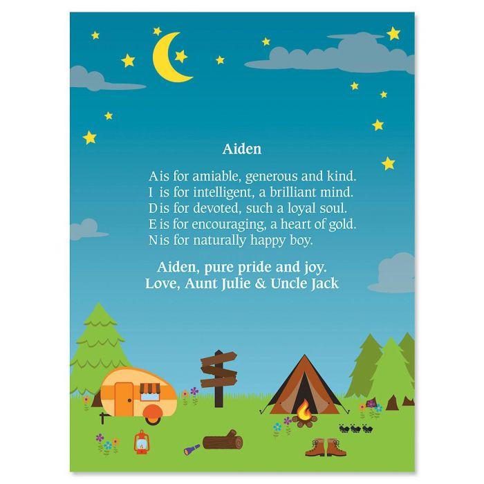 Camping Name Poem Print