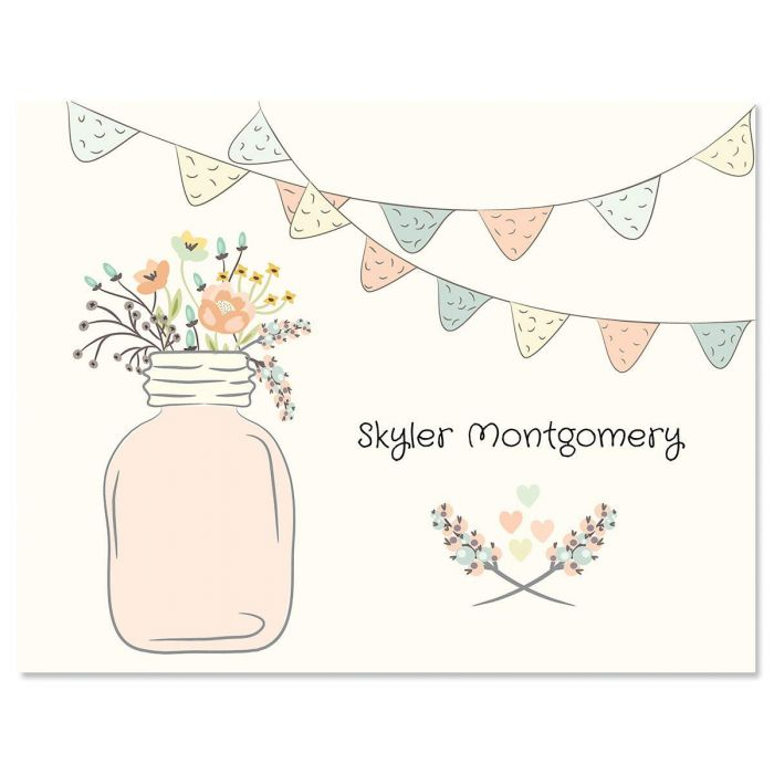 Mason Jar Personalized Note Cards