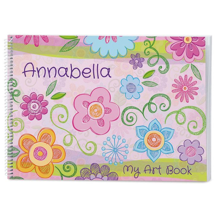 Flowers & Hearts Personalized Sketchbook
