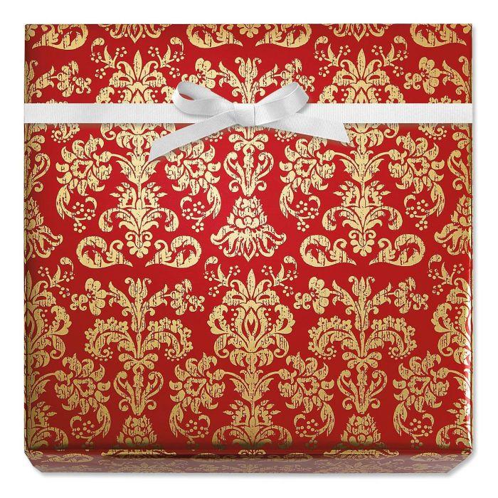 Red Elegance Foil Rolled Gift Wrap