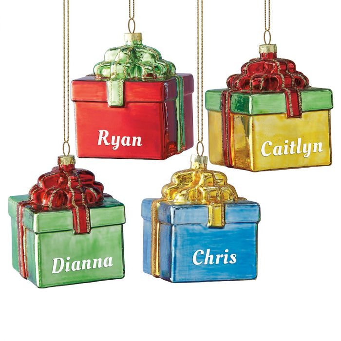 Gift Box Personalized Christmas Ornaments