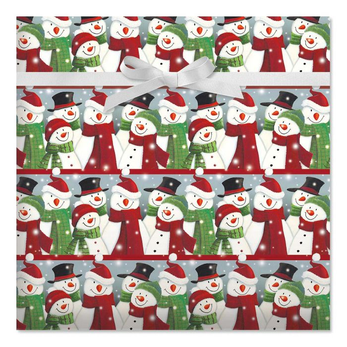 Snowman Gathering Jumbo Rolled Gift Wrap