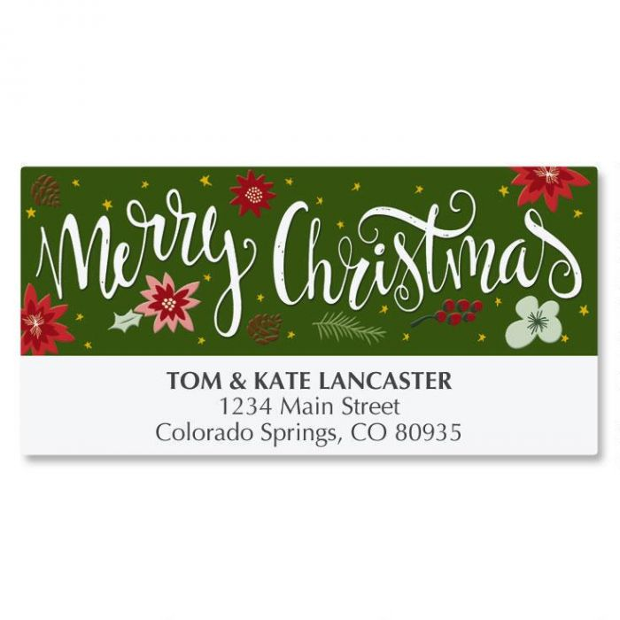 Poinsettia Wish Deluxe Address Labels