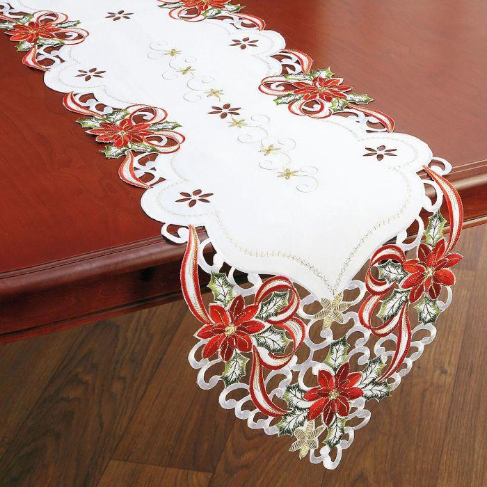 Poinsettias & Bows Table Runner