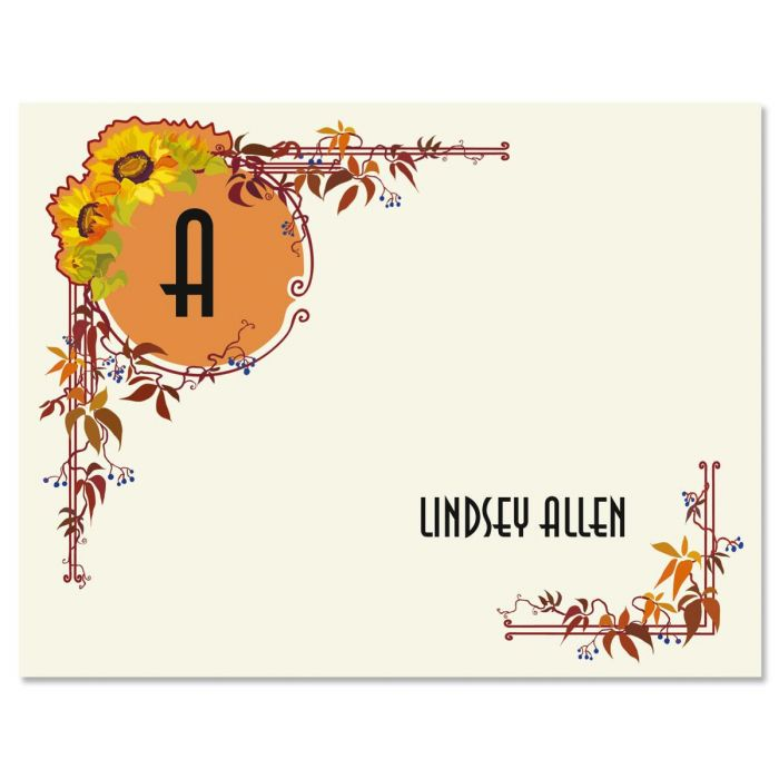 Sunflower Nouveau Personalized Note Cards