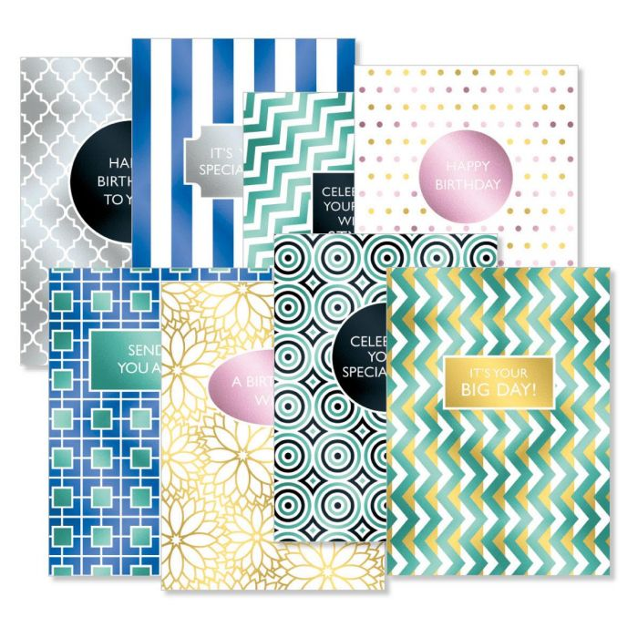 Geometric Graphic Deluxe Birthday Cards
