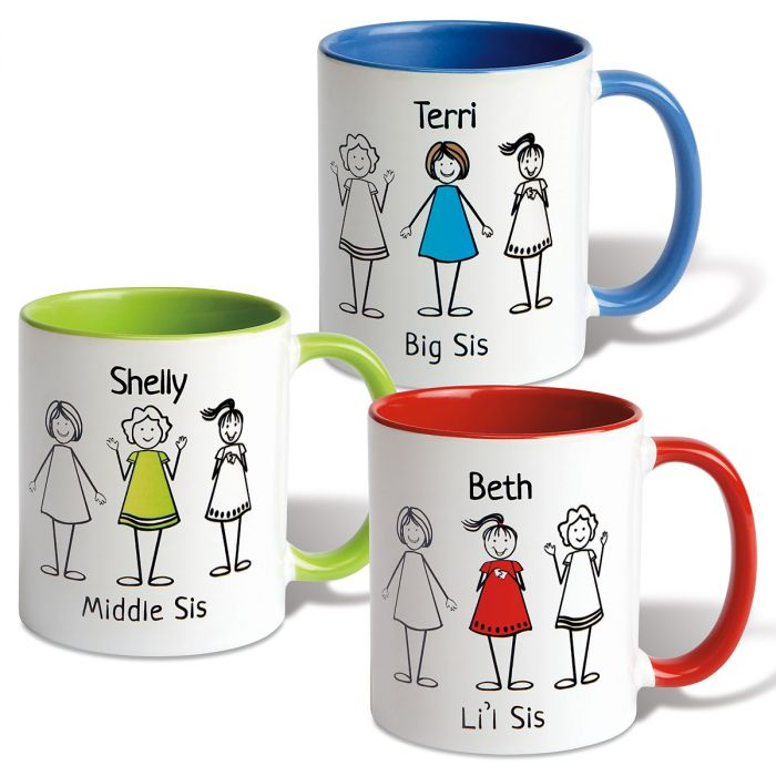 Big/Middle/Li'l Sis Personalized Mug