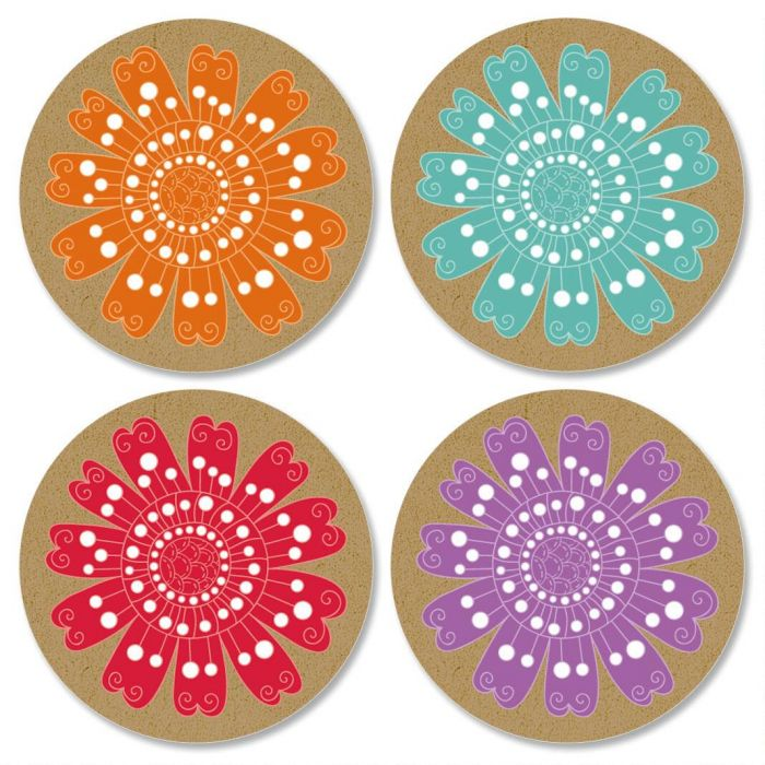 Kraft Floral Envelope Sticker Seals