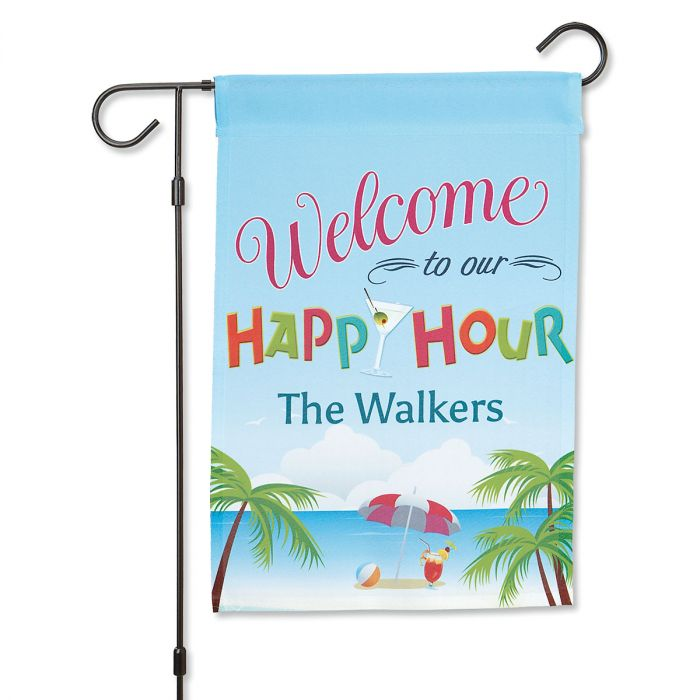 Happy Hour Personalized Garden Flag