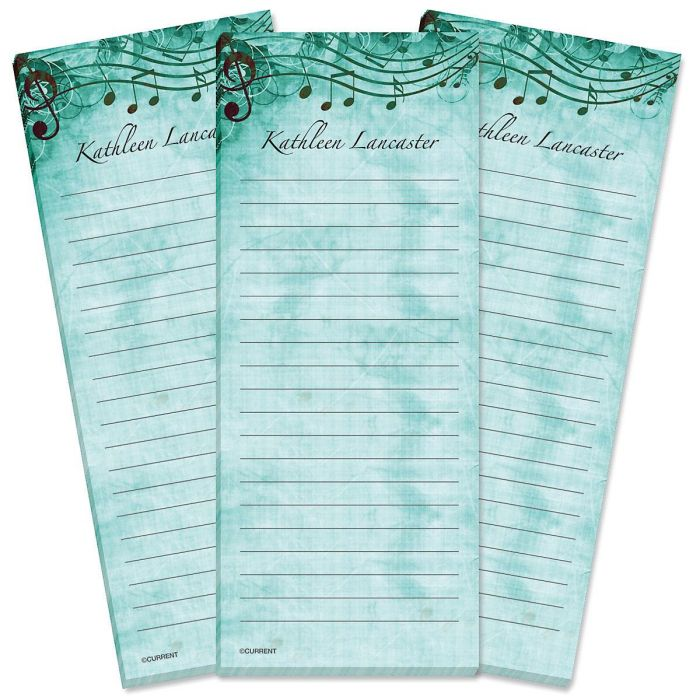 Sheet Music Aqua Lined Shopping List Pads