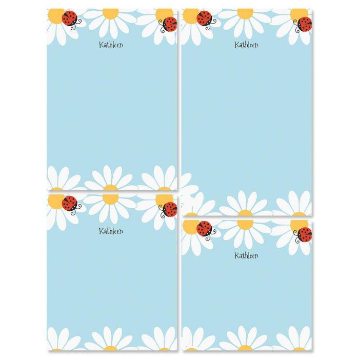 Ladybug Daisy Personalized Notepad Set