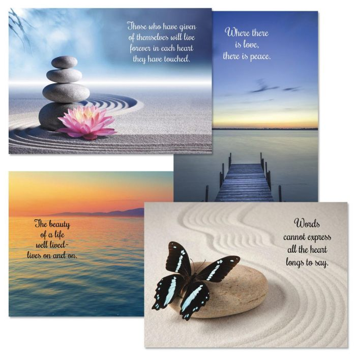 Peaceful Photo Sympathy Cards and Seals