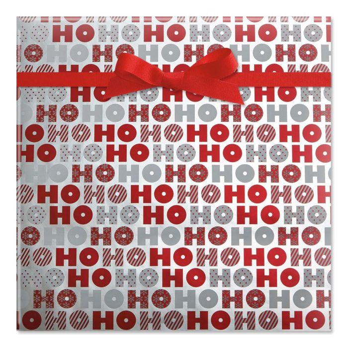 Red & White Ho Ho Ho Foil Rolled Gift Wrap