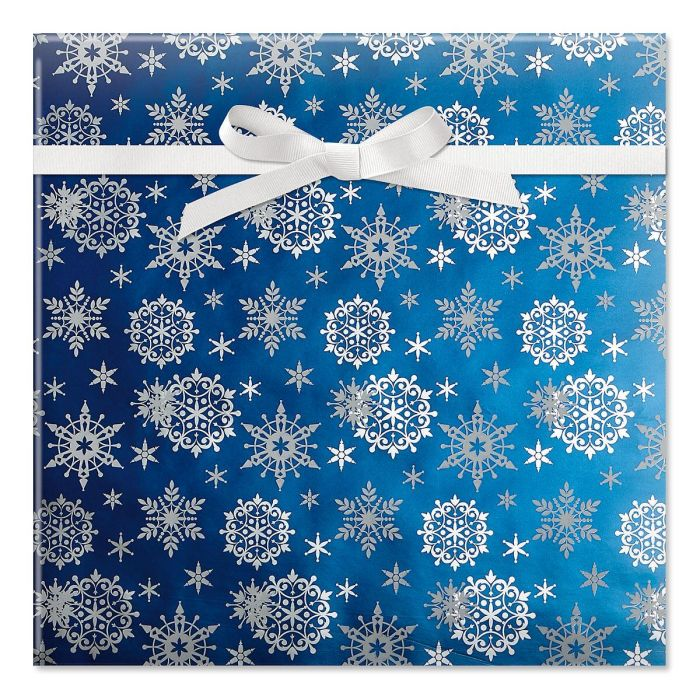 Frosty Blue Snowflakes Foil Rolled Gift Wrap
