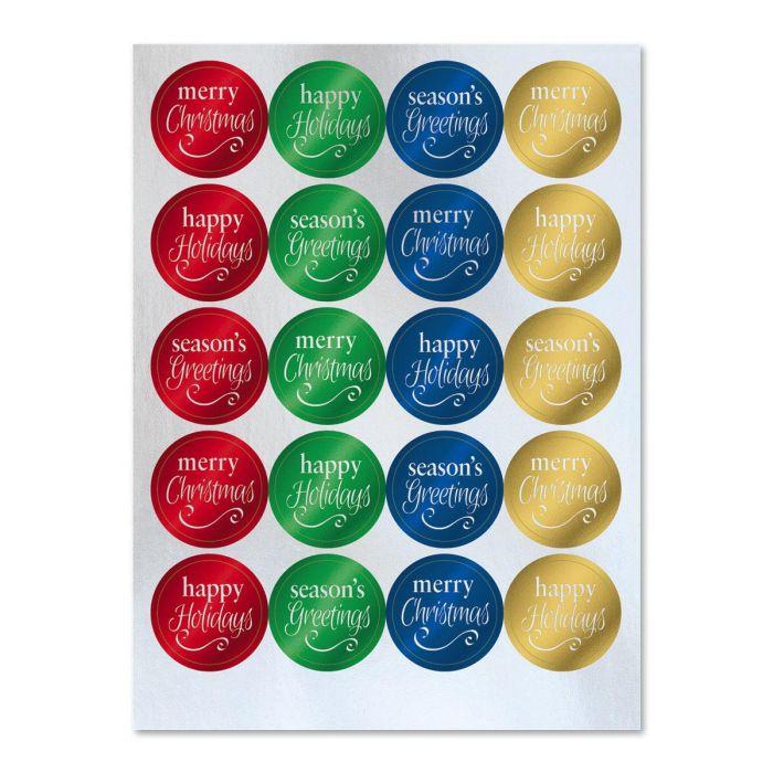 Foil Christmas Sentiments Stickers