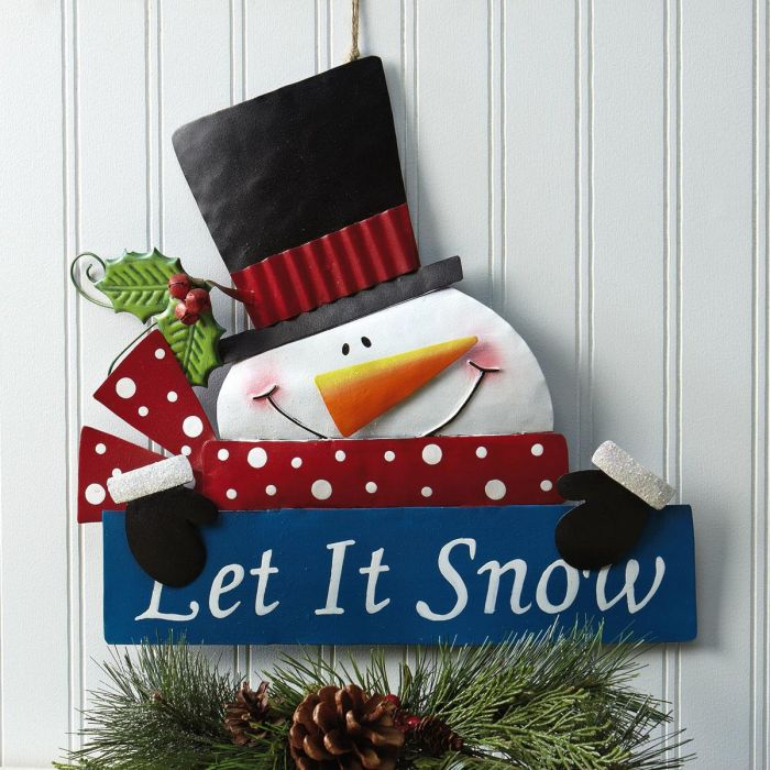 Let it Snow Snowman Festive Metal Sign