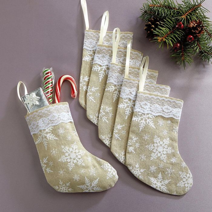 Burlap & Snowflakes Stocking Treat Bags