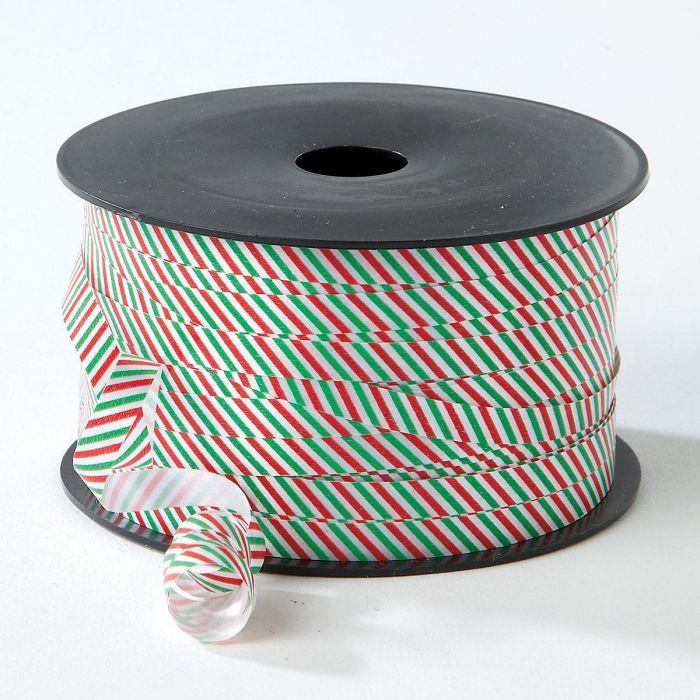 Red & Green Stripes Christmas Curling Ribbon - BOGO