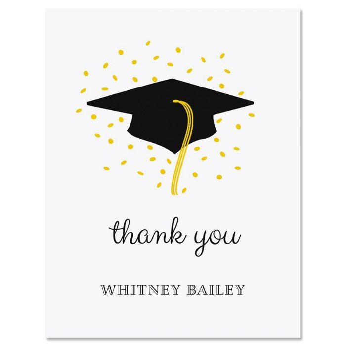 Confetti and Cap Graduation Personalized Thank You Cards