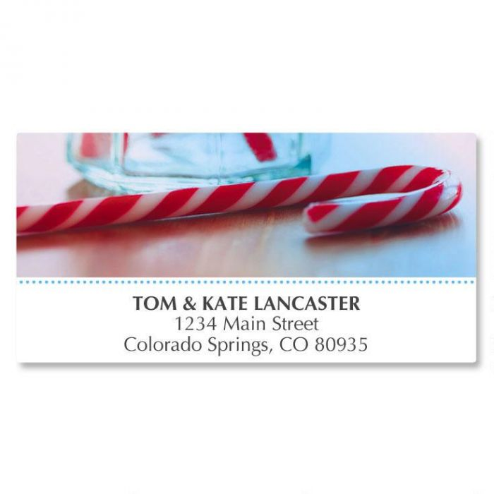 Candy Cane Deluxe Address Labels