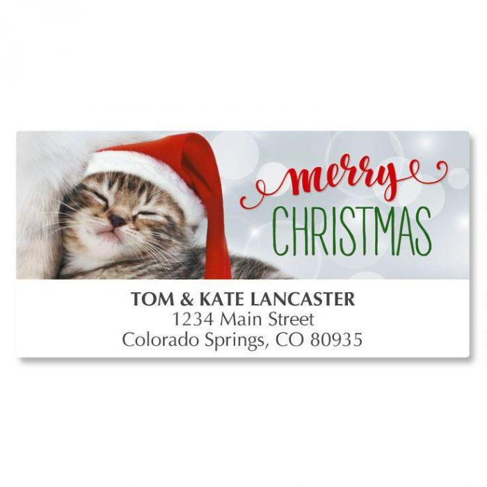 Christmas Kitten Deluxe Address Labels