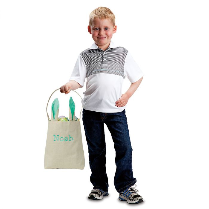 Kids Personalized Green Easter Tote with Ears