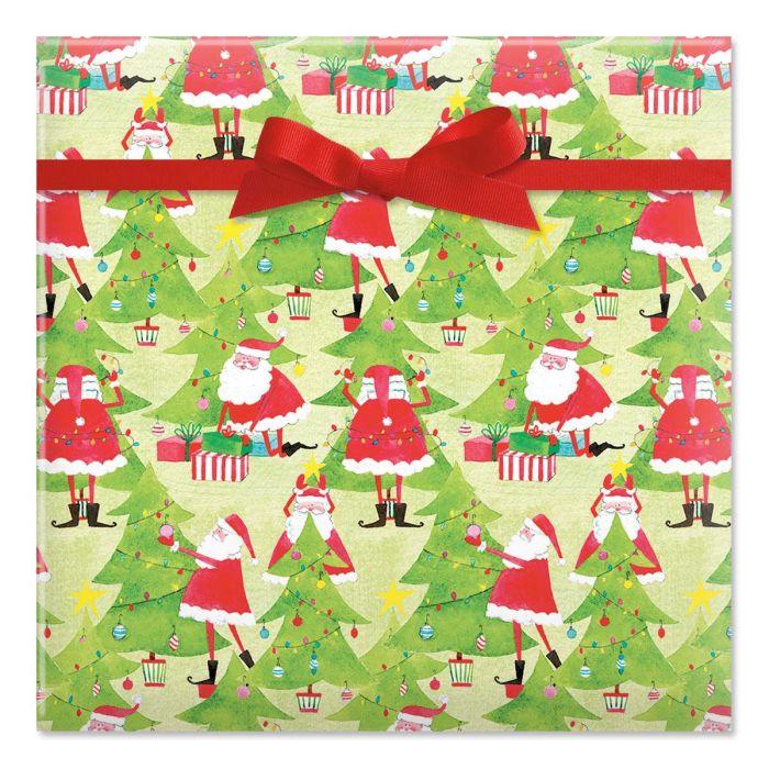 Tree Decorating Santas Rolled Gift Wrap