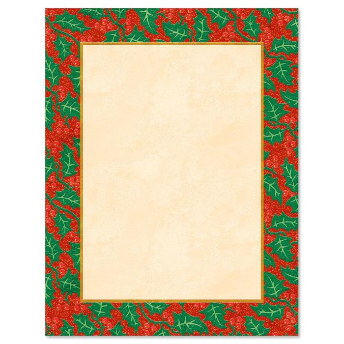 Edged in Holly Christmas Letter Papers