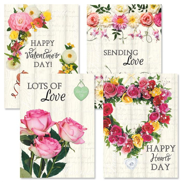 Roses on Wood Valentines Day Cards