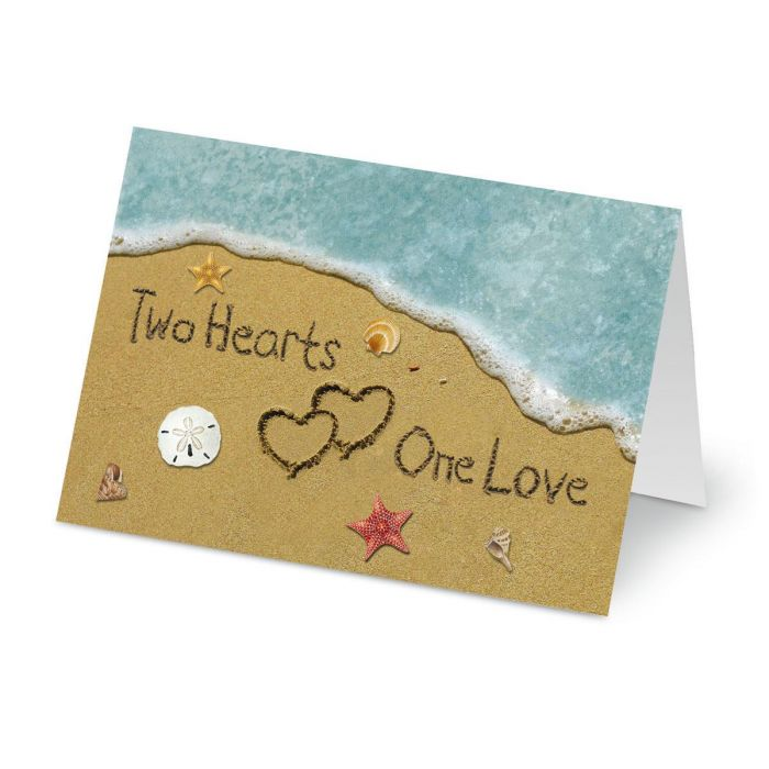Two Hearts in the Sand Valentines Day Cards