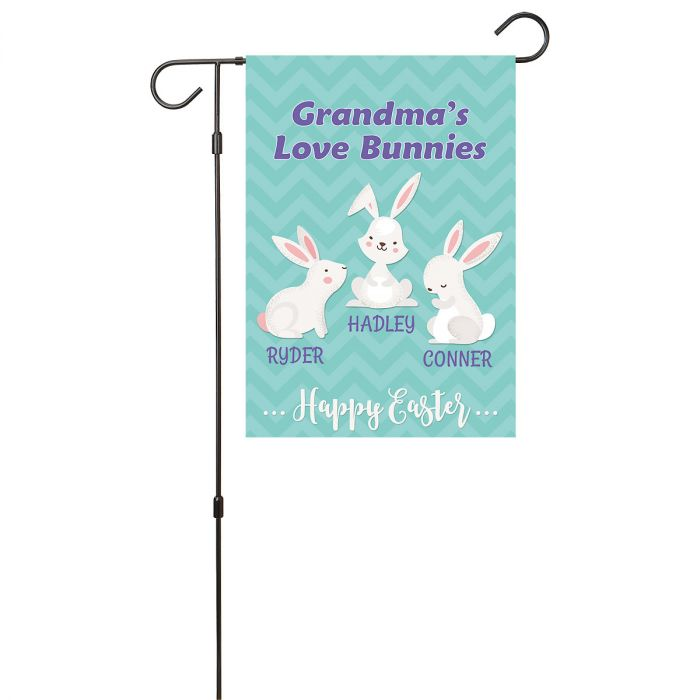 Personalized Love Bunnies Garden Flag - 3 Names