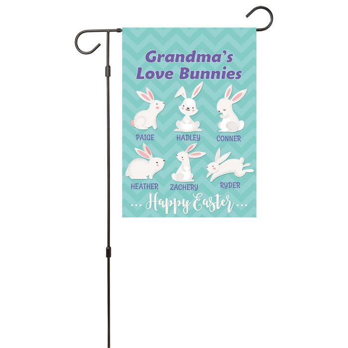 Personalized Love Bunnies Garden Flag - 6 Names
