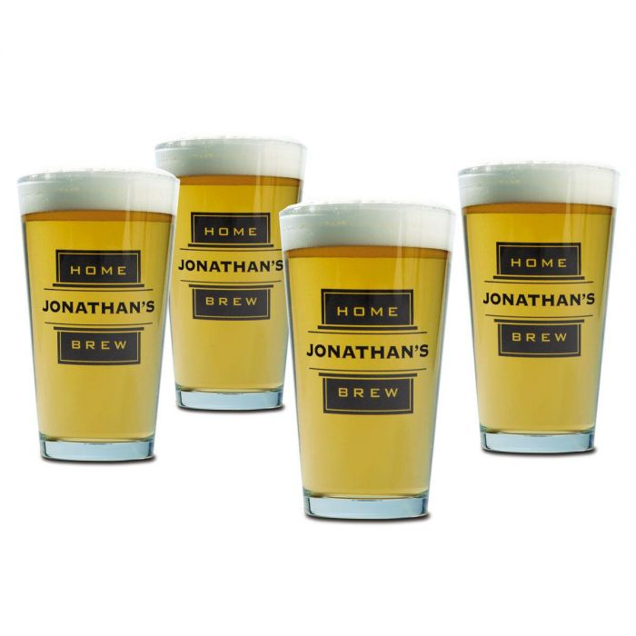 Pint Personalized Beer Glasses - Home Brew