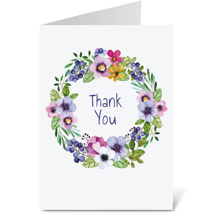Spring Blossoms Wreath Thank You Note Cards - BOGO